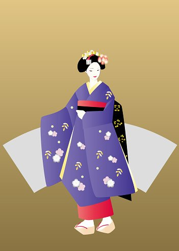 Geisha in purple kimono with fan shaped on gold background