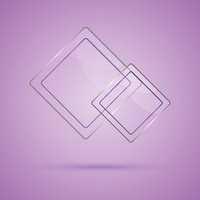 Abstract glass panel with copy space on violet background