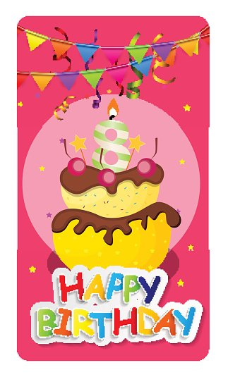 Happy Birthday Card Baner Background  with Cake and Flags. Vecto