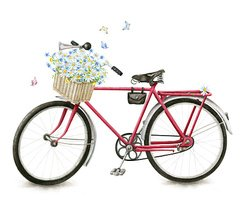 Watercolor red retro bicycle