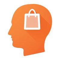 Male head icon with a shopping bag