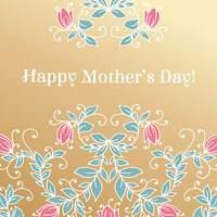 Happy Mothers day hand drawing floral congratulations card.