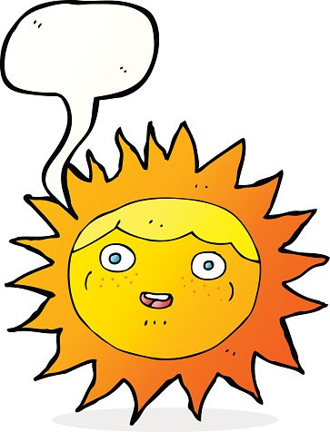sun cartoon character with speech bubble