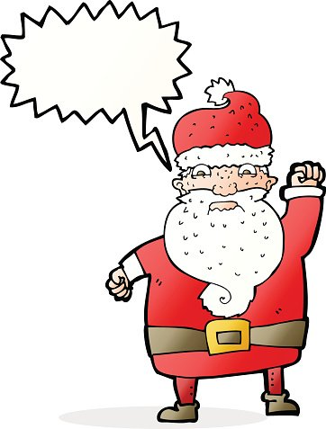 cartoon angry santa claus with speech bubble