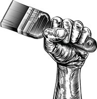 Propaganda Woodcut Fist Hand Holding Paintbrush