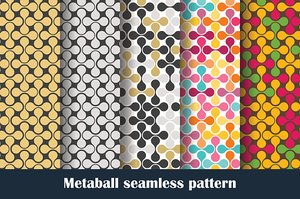 Vector set MetaBall colored seamless pattern