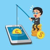 Cartoon businessman earning money with smartphone