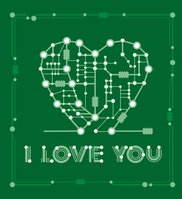 bstract drawing in form heart with elements computer and motherboard