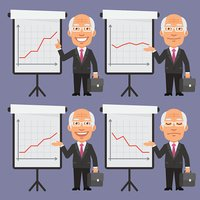 Old Businessman in Suit Points to Flip Chart