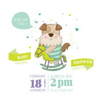 Baby Shower or Arrival Card - Baby Dog