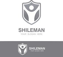 Vector man and shield symbol concept