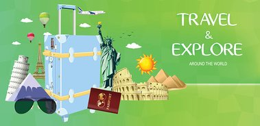 Travel and Explore Around the World Design with Famous Landmarks