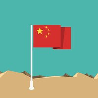 China flag in flat design