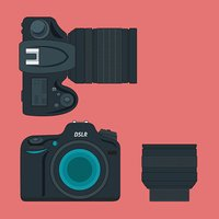 vector SLR camera and lens icon flat style