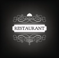 Restaurant logo. Handmade lettering and decorative elements.