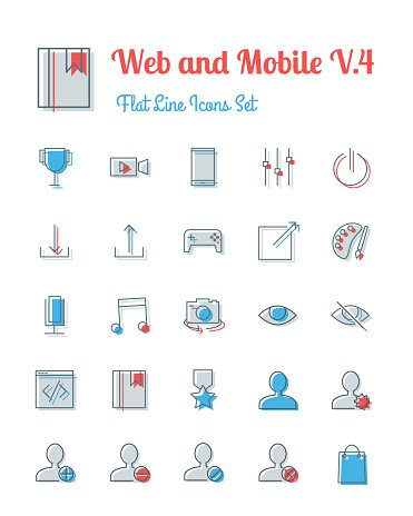 vector web and mobile icons set flat line style