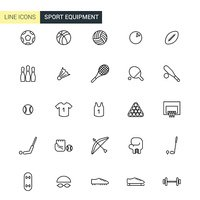 Vector sport equipment line icons