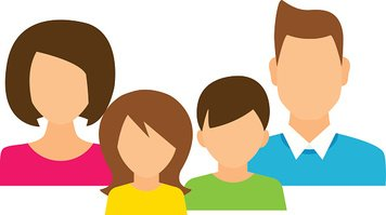 Family members avatars in flat style