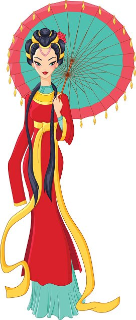 Chinese lady in traditional dress holding umbrella. Vector illustration.
