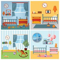 Children Bedroom Interior. Child Furniture and Toys