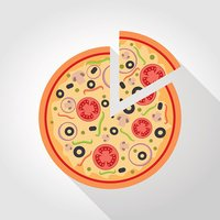 Flat pizza illustration