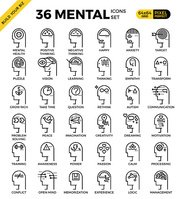 Mental & Mind pixel perfect outline icons