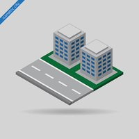isometric city - road and two buildings