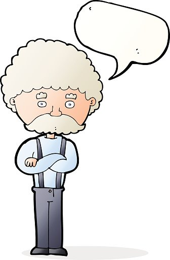 cartoon old man  with speech bubble