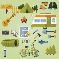 Camping elements, camping equipment