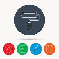 Paint roller icon. Paintbrush tool sign.