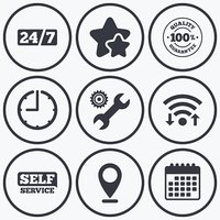 Repair fix tool icons. Customer service signs.
