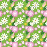 Floral spring pattern with chamomiles and dandelions