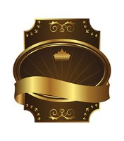 Golden royal label on black background with corners
