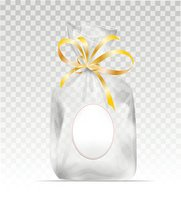 Plastic gift bag with gold shiny ribbon
