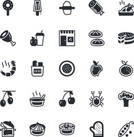 Food, Drinks, Fruits, Vegetables Vector Icons 7