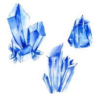 Set of watercolor crystals, natural decoration crystals collecti