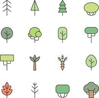 Trees outline multicolored vector icons set. Minimalistic design.