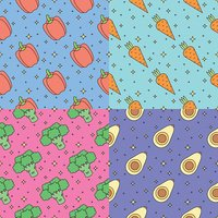 Vegetables multicolored outline seamless vector pattern set. Part one.