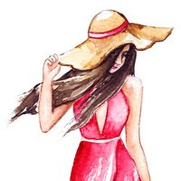 Fashion girl in pink dress and hat isolated