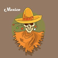 Skeleton Wear Mexican Sombrero Mexico Traditional National Holiday