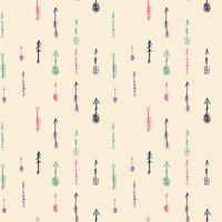 Seamless pattern with hand drawn colored arrows