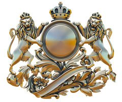 Gold patina old coat of arms with lions