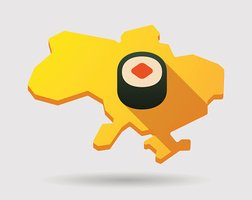 Ukraine green map icon with a sushi