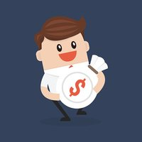 Businessman holding a money bag with dollar sign.