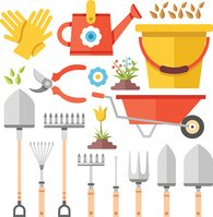Gardening work tools flat icons set. Flat vector illustration