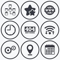 Website database icon. Internet globe and repair