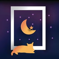 good night card, paper moon, cat see moon