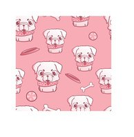Seamless pattern with sweet little pug puppy