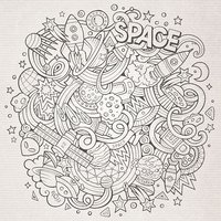 Cartoon doodles space illustration