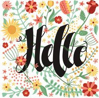 Hello ink handwritten lettering illustration with flowers and plants.